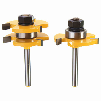 "Harga 2Pcs Tongue & Groove Router Bit Set 3/4"" Stock 1/4"" Shank For Woodworking Tool"