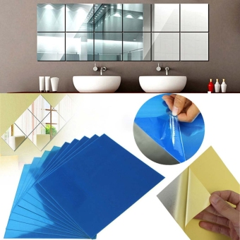 Harga JoIn 9pcs Square Mirror Tile Wall Stickers DIY 3D Decal Mosaic Home Decorations