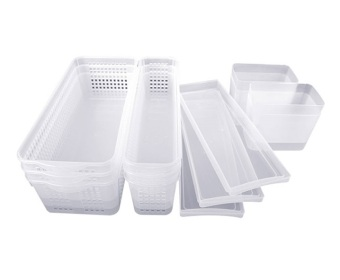 Silicook 13 Pieces of Long Tray for Food Storage in Refrigerator(Fridge). Total Set.