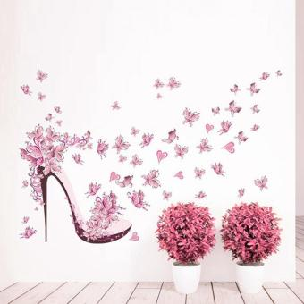 Harga Pink Butterfly heels Bedroom living room wall stickers - intl
