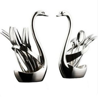 Harga 6 pcs Stainless Steel Swan Forks and Spoons Set - intl