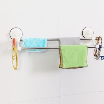 Harga Magic Double Sucker Double Rod Towel Rack 60cm (1925)