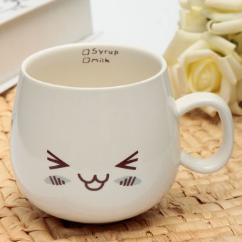 Harga 300ml Lovely Cute Face White Pottery Ceramic Cup Mug Tea Coffee Milk Cup Gift Laughter - Intl