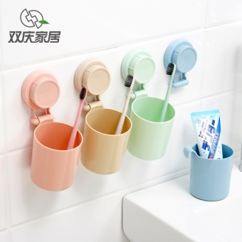 Harga Shuang Qing strong suction cup toothbrush holder tumbler cup set bathroom suction wall toothbrush holder toothpaste couple toothbrush cup