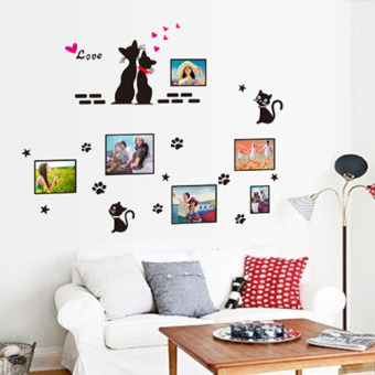 Harga Love small cat photos photo wall sticker romantic bedroom wall stickers living room tv background wall stickers painting