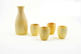 Harga Pure natural Hand-made Solid Maple Sake set include 1pcs saki pot+4pcs sake cup - intl