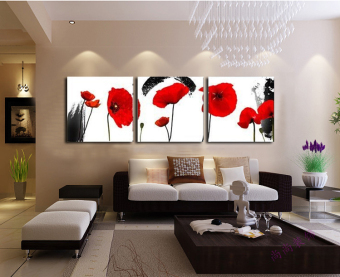 Harga Red Poppies Flower 3 Piece Wall Art Canvas Prints Cheap Modern Paintings Wall Pictures for Living Room (Frameless) - Intl