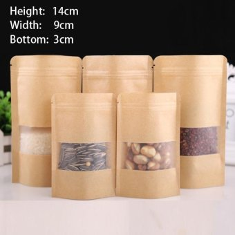 Harga 100 Pcs 9X14+3Cm Stand Up Bulk Food Storage Ziplock Bag Foodmoisture-Proof Bags,Window Bags Brown Kraft Paper Doypack Pouchziplock Packaging For Snack,Cookies, Mylar Heat Sealable Smellproof Pouches Tear Notch Coffee Zipper Valve Grocery Wrap - intl