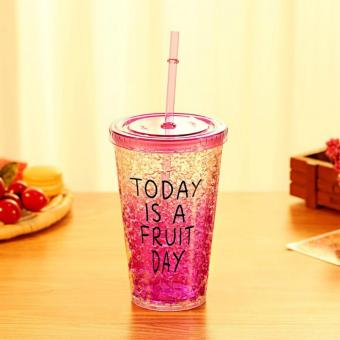 Harga 450ml Sport Travel Plastic Fruit Juice Water Bottle Cup with Straw(Purple) - intl