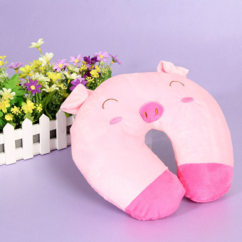 Harga Multi-Color Cartoon U Shaped Travel Pillow Neck Support Head(Pink)