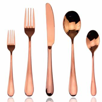 Harga Rose Gold Flatware,Aoosy Stainless Steel Cutlery Set Royal High-Grade Dinnerware