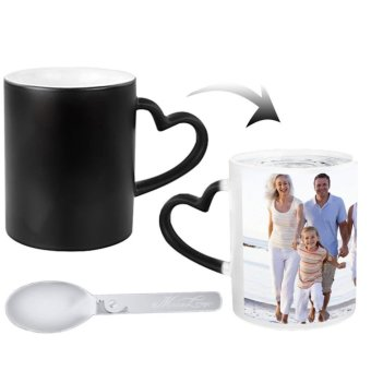 Harga Custom Mug, Personalized Heat Sensitive Color Changing Photo Mug Cup Add Your Own Picture Image Message Coffee Tea Drinking Cup with Bonus Spoon,Christmas Birthday Gift(Black,A) - intl