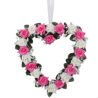 Harga 1PCS Pink + White Heart Rose Wedding Road Decorative Wreaths - intl