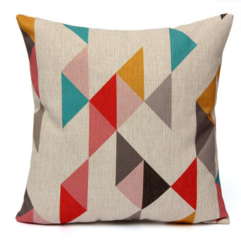 Harga Colorful Geometric Waves Chevron Home Throw Linen Pillow Case Sofa Cushion Cover