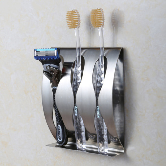 Harga Stainless steel wall mount toothbrush holder 3 position Self-adhesive tooth brush shelf Organizer bathroom accessories - intl