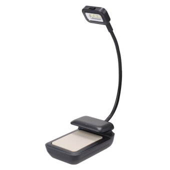 Harga LED Clip-on Reading Light Lamp for Kindle, Nook, eBook Readers, Tablets, PDAs, Book, Textbook - 2 Brightness Mode - Flexible Neck, Black - intl