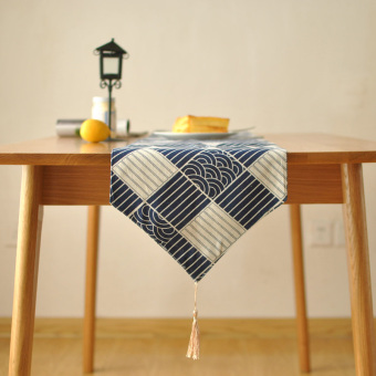 Harga Japanese wind traditional patterns of qinghai wave waves blue geometric pattern cotton fabric table runner decoration