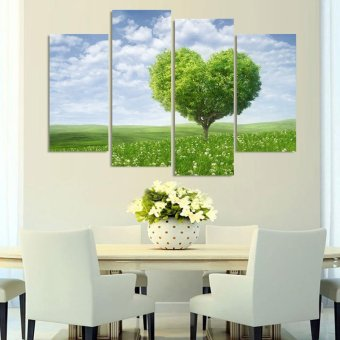 Harga 4 Piece Green Giving Tree Wall Art Decor Oil Painting The Living Room Oil Paintings In Print Pictures On Canvas (EXPORT)