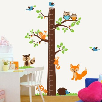 Harga JinGle Squirrel Owl Fox Birds Tree Height Chart Measurment Kid Wall Sticker (Multicolor)