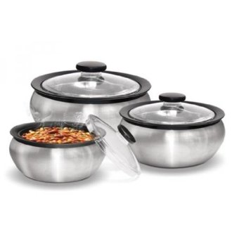 Harga Milton 600/1500/2000ml 3-Piece Thermo Hot-Pot Insulated Casserole Gift Set, , Steel - intl