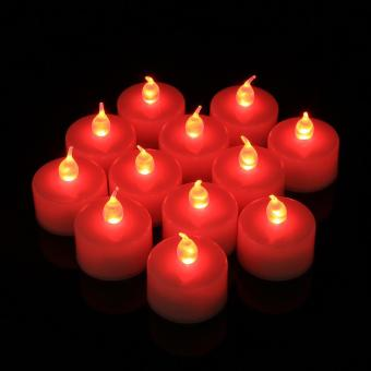 Harga 12PCS LED Flicker Flameless Light Electronic Candle Red - intl