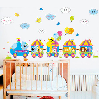 Harga Cute animal car cartoon children's room nursery wall stickers removable wall stickers for children wall sticker