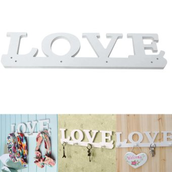 Harga Vintage White LOVE Hook Clothes Robe Key Holder Hat Hanger Home Decoration