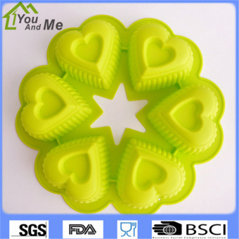 Harga 6 Cups DIY Sweet Love Heart Shape Silicone Cake Mould Chocolate Jelly Soap Mold Muffin Cup Cupcake Baking Tools - intl