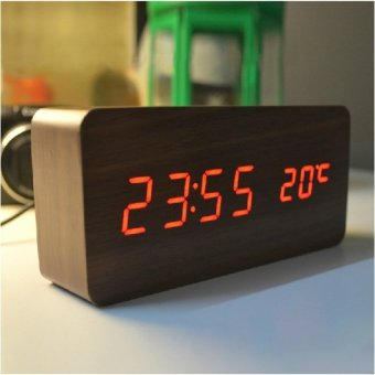 Harga High-quality Alarm clocks with Thermometer wood wooden Led clocks.Digital Table Clock electronic clocks - intl