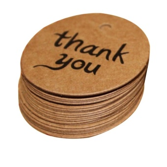 Harga 100PCS Kraft Paper Hang Tags Wedding Party Favor Label thank you Gift Cards - intl