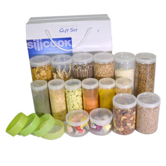 Silicook Stacking Ring + 16 Pieces of Subdivision Round Food Container for Storage in Refrigerator(Fridge). Gift Set.