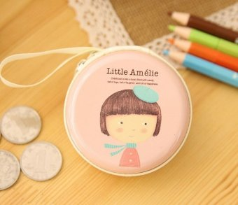 Harga Amelie Pink Cute Cartoon Tin Coin Pouch Earphone Holder