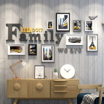 Harga Photo wall photo frame wall living room minimalist Modern Decorative frame wall creative combination of hanging small fresh photo wall