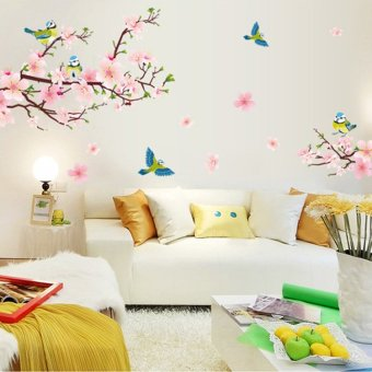 Harga Warm TV wall living room bedroom marriage room stickers painting flower vine