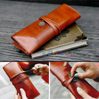 Harga HOT Sale Cosmetic Make Up Pen Pencil Retro Leather Pouch Purse Bag Case - intl