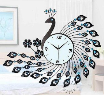 Harga Peacock At The Living Room Wall Clock Black - intl
