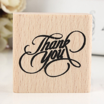 Harga Vintage Thank You Wooden Rubber Stamp Craft Wedding Party Popular 4x4x2cm - Intl