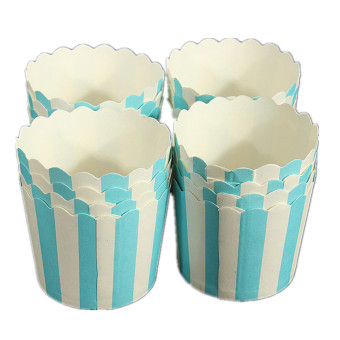 Harga 50Pcs Paper Cake Cup Cupcake Cases Liners Muffin Dessert Baking Blue and white striped(Export)(Intl)