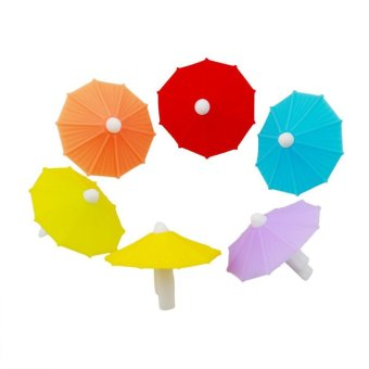 Ai Home 6PCS Umbrella Silicone Party Wine Glass Bottle Drink Markers Charms Cup Marker (Multicolor) - intl