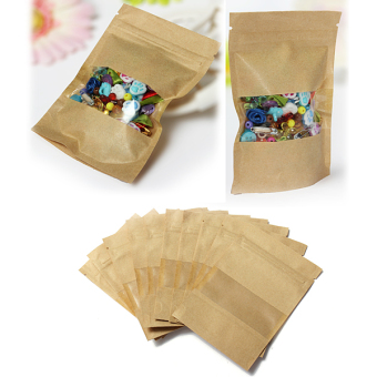 Harga 5pcs Kraft Paper Bags Party Food Shopping Well Sealed Ziplock Sealing Stand