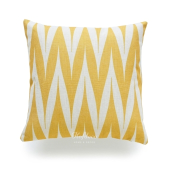 Harga HOF Deco Geometric Mustard Yellow Tribal Zigzag Spike Decorative Throw Pillow Case Cotton Linen Blend HEAVY WEIGHT FABRIC Cushion Cover 45 x 45cm