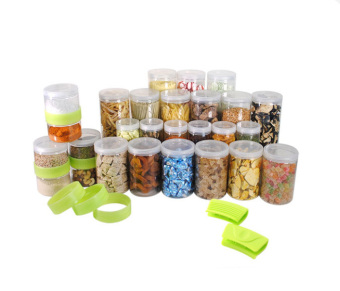 Silicook Stacking Ring + 27 Pieces of Subdivision Round Food Container for Storage in Refrigerator(Fridge). Total Set.
