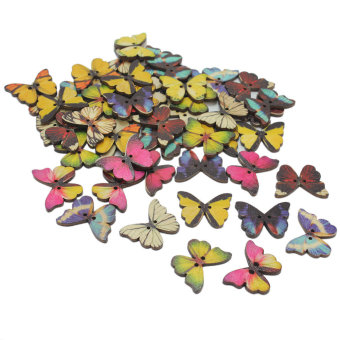 50pcs Mixed Color Butterfly Shape 2 Holes Wood Sewing Cute Button Scrapbooking - Intl