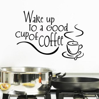 Harga Wake up to Wall Stickers Beautiful Design Coffee Cups Cafe Tea Wall Stickers Art Vinyl Decal Kitchen Restaurant Pub Decor - Intl