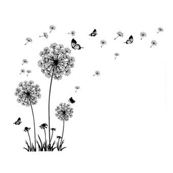 Harga Blackhorse Huge Dandelion Flower Butterfly Wall Sticker (Black)