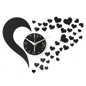 Harga DIY Fashion Wall Clock 3D Love Sticker Home Modern Living Room Decor Love Mirror