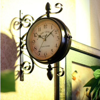 Harga European-style wrought iron double-sided wall clock wall pendant decorative products creative restaurant coffee Hall living room retro decorative wall watch