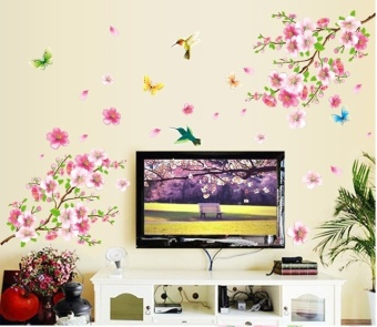 Harga Romantic Flower Birds Butterflies Wall Stickers Peach Blossom Living Room Bedroom TV Wall Decals Wallpaper Poster Mural Decor - intl