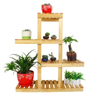 Harga High statue wood multi-layer floor flower wooden multi-meat bonsai rack wooden balcony living room Snnei flower shelf