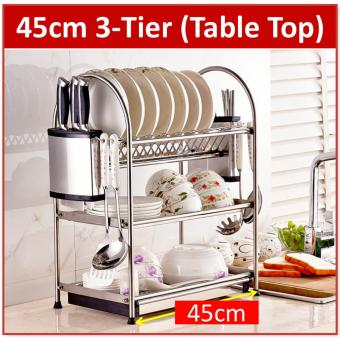 Harga Premium Stainless Steel 3-Tier Dish Rack with Drying Drainer tray Holder Kitchen Shelf Storage Cup (Silver)